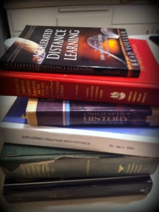 Homeschool books from the Smith family library. Photo courtesy of Spiritual Sounding Board.