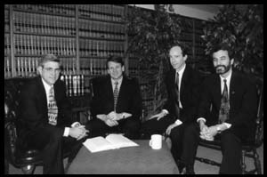 Michael and Vickie Farris and Michael and Elizabeth Smith found HSLDA in 1983. Pictured, left to right: Michael Smith, Michael Farris, David Gordon, and Chris Klicka.