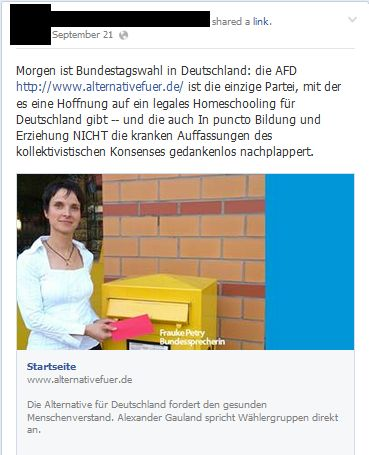 A screen capture from a German pro-homeschooling group, pushing for its supporters to vote for the AfD — Alternative für Deutschland — in this year's election.